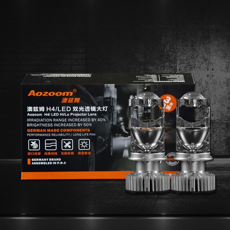 2018 Aozoom New Arrival 2pcs H4 LED hi lo mini projector lens headlight for car clear beam pattern 12V 6000k