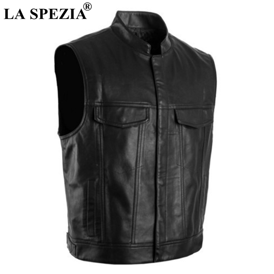 LA SPEZIA Men Vest Black Biker Motorcycle Hip Hop Waistcoat Male Faux Leather Punk Solid Spring Sleeveless Jacket New Arrival