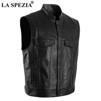 LA SPEZIA Men Vest Black Biker Motorcycle Hip Hop Waistcoat Male Faux Leather Punk Solid Spring Sleeveless Jacket New Arrival