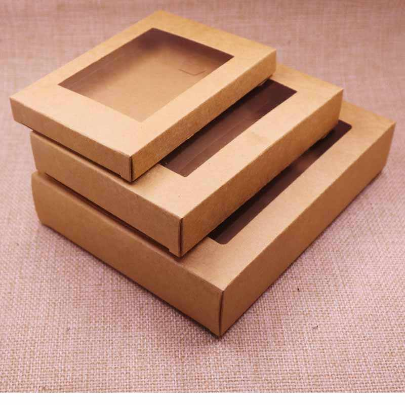 Deluxe Vintage  color  Kraft paper gift   box package with clear pvc window candy favors arts&krafts display package box 10pcs