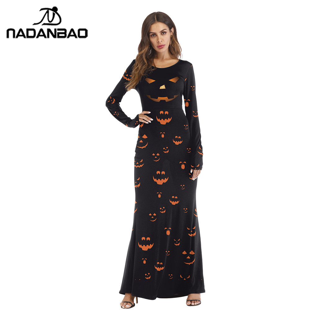 c81d762b9b0b6 NADANBAO Halloween Pumpkins Lantern Long Dress Scary Yellow Lightning Funny  Printed Sexy Party Plus Size Festival