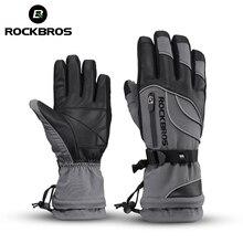 ROCKBROS-30 градусов Водонепроницаемые лыжные перчатки ветрозащитные снегоходов сноуборд перчатки зимние спортивные флис Термальность Лыжные Спортные Перчатки