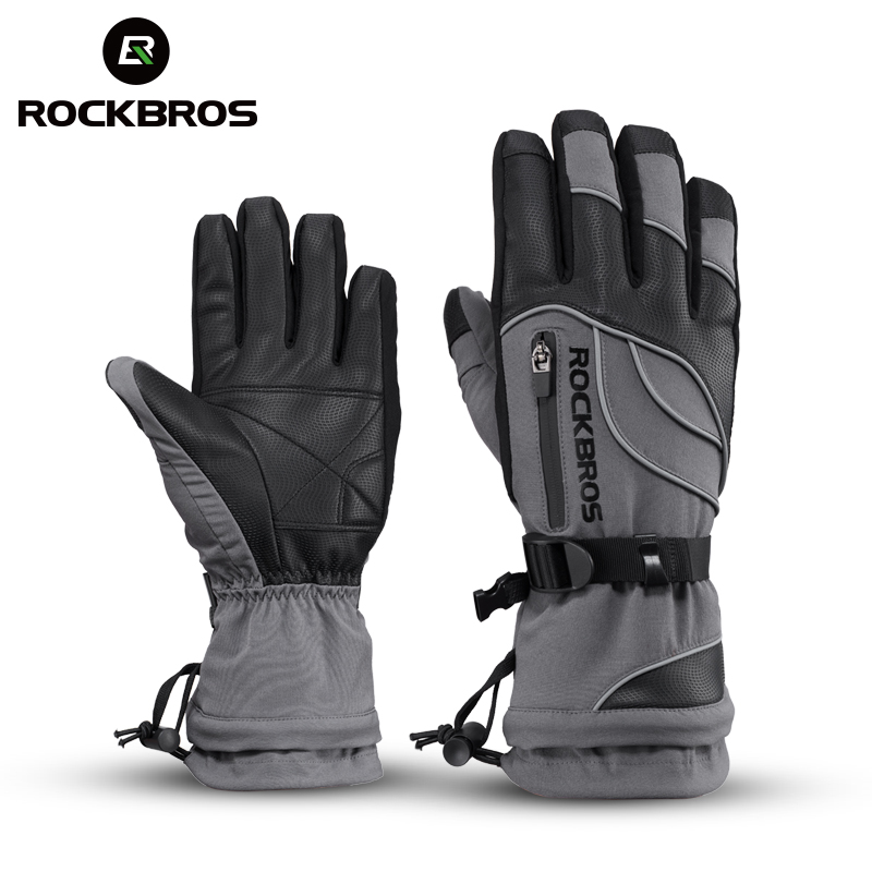 ROCKBROS Ski Gloves Motorcycle Waterproof Fleece Thermal Gloves Snowboard Snowmobile Gloves Men Women Winter Snow Gloves Male