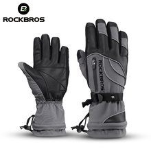 ROCKBROS Ski Gloves Motorcycle Waterproof Fleece Thermal Gloves Snowboard Snowmobile Gloves Men Women Winter Snow Gloves Male