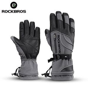 Image 1 - ROCKBROS gants de moto imperméable thermique pour hommes et femmes, pour Snowboard, pour neige