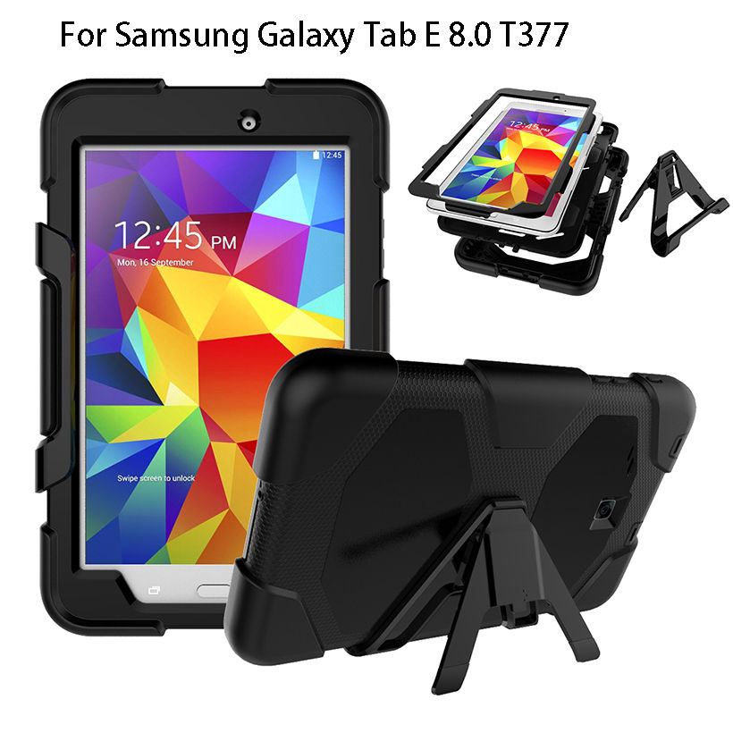 Armor Cover For Samsung Galaxy Tab E 8.0 Case T377 SM-T377V Cases Kickstand Tablet Shockproof Heavy Duty With Stand Shell Funda hh xw dazzle impact hybrid armor kickstand hard tpu pc back case for samsung galaxy tab a 8 0 inch p350 p355c t350 t355 sm t355