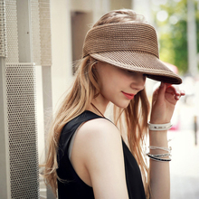 Summer Women Sunscreen sun hat Wide Large Brim Beach Visor Straw Hat Button Cap Empty top Hat For Women Anti-uv Visor Cap Female цена