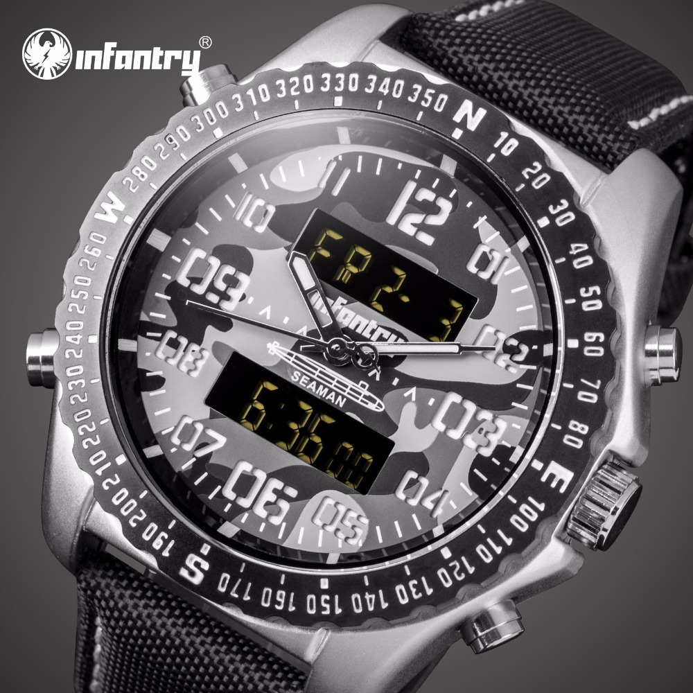 цена на INFANTRY Mens Watches Top Brand Luxury Aviator Military Watch Men Analog Digital Watch for Men Tactical Army Relogio Masculino