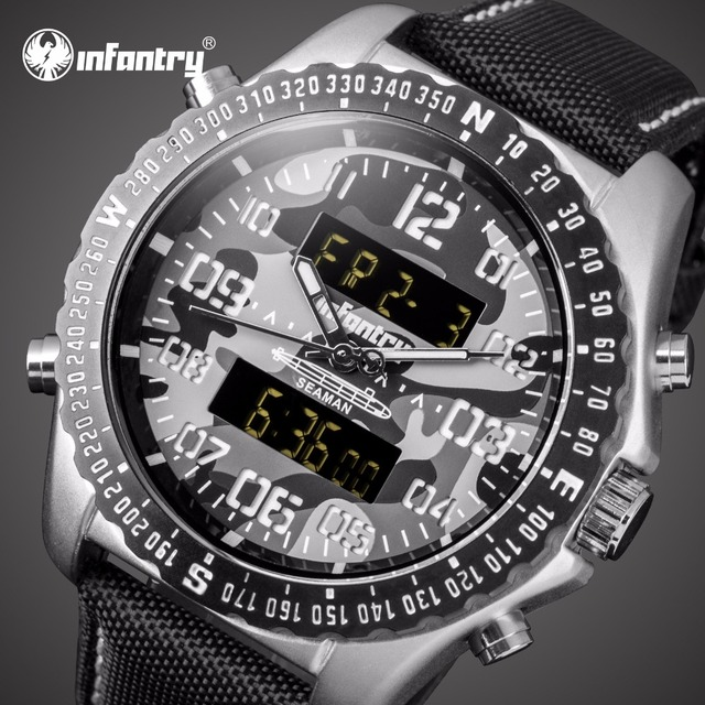 603f428c25d41 Infanterie hommes montres Top marque de luxe aviateur militaire montre  hommes analogique numérique montre pour hommes