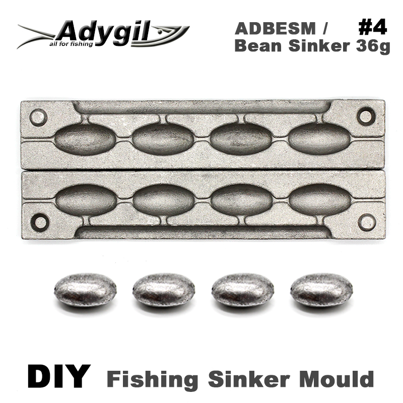 Adygil DIY Fishing Bean Sinker Mould ADBESM/#4 Bean Sinker 36g 4 Cavities