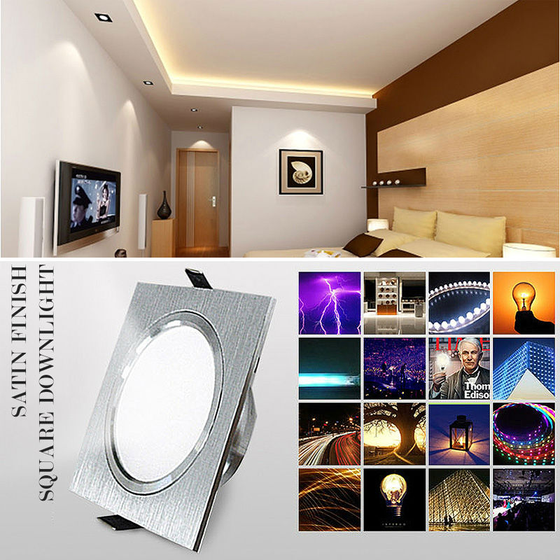 LED Downlights Square Brush plata 3W 6W 9W 12W AC220V 230V LED - Iluminación interior - foto 6