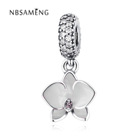 2017 Authentic 925 Sterling Silver Charm White Orchid Dangle Clear Cubic Zirconia Beads Fit Original Pandora