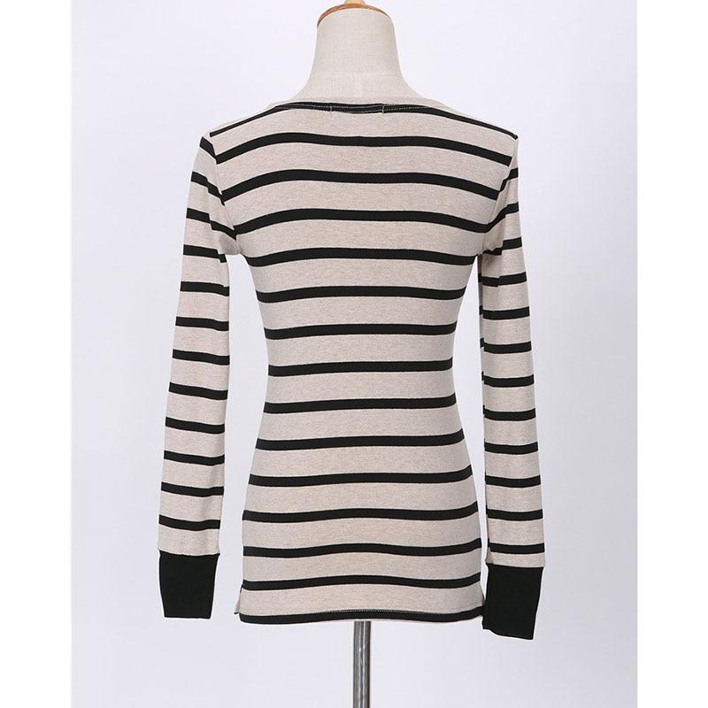 BOBOKATEER Langærmet t-shirt kvinder toppe tee shirt femme stripet - Dametøj - Foto 5