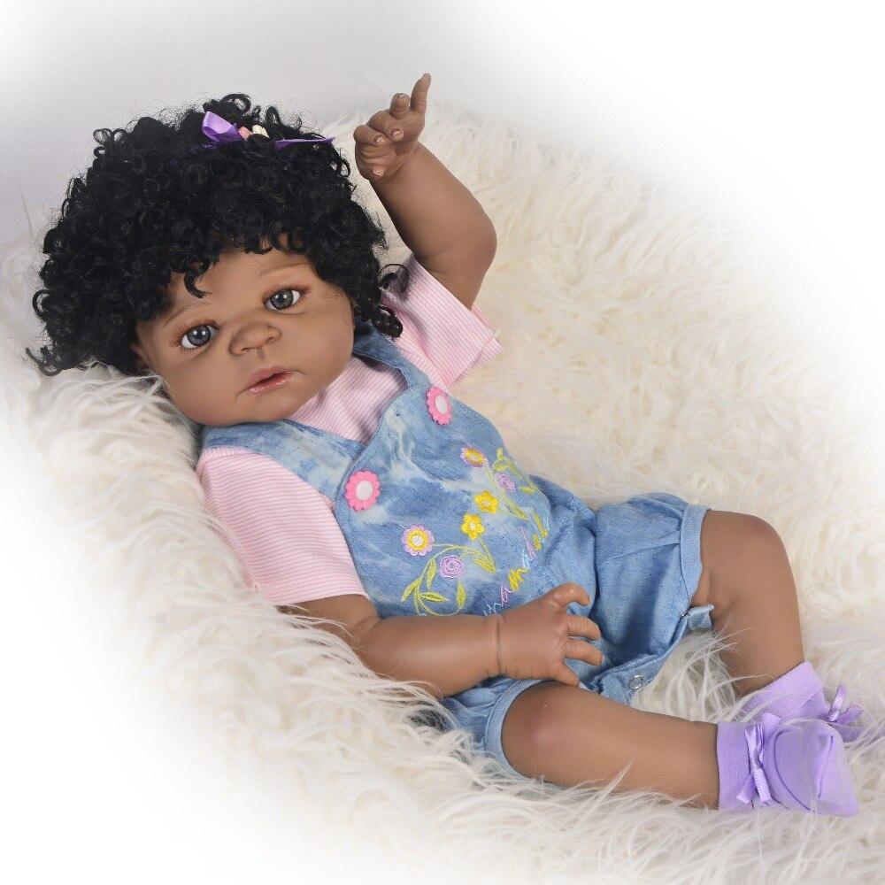 55cm Silicone Reborn Black Skin Girl Baby Doll Toy 22inch Vinyl Newborn Princess Toddler Smile Babies