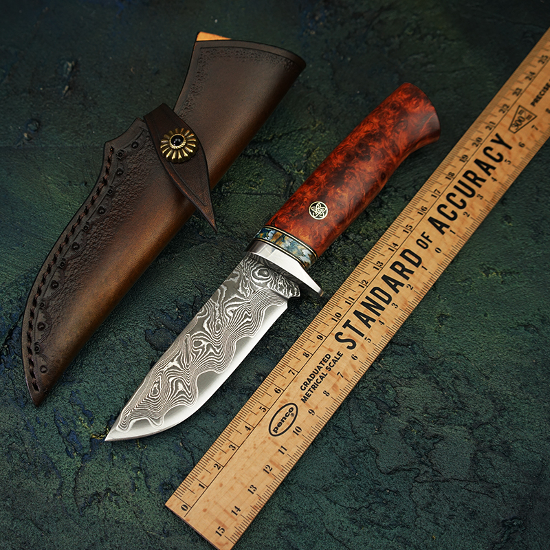 TUREN Damascus Steel Fixed Blade Knife VG10 Steel Core Hunting Tools Amboyna Burl Handle Tactical Survival