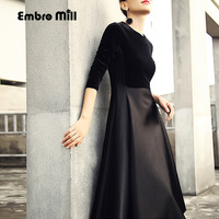 Embro Mill women black/red splice velvet dress autumn and winter vintage elegant lady beautiful A line midi party dress S XXL