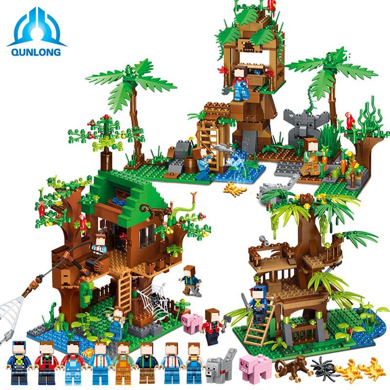 QUNLONG My World Minecrafted Forest Model Building Blocks Bricks Jungle Tree House Compatible LegoE Action Figure Toys Gift lepin 18003 my world series the jungle tree house model building blocks set compatible original 21125 mini toys for children