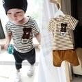 Летняя мода детская одежда устанавливает полосы медведь одежда для новорожденных младенца хлопка мальчик одежды младенца случайные спортивный набор футболка + брюки 2 шт