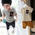 Summer fashion kids clothes sets stripes bear baby clothing cotton baby boy clothes baby casual sport set T shirt + pants 2 pcs