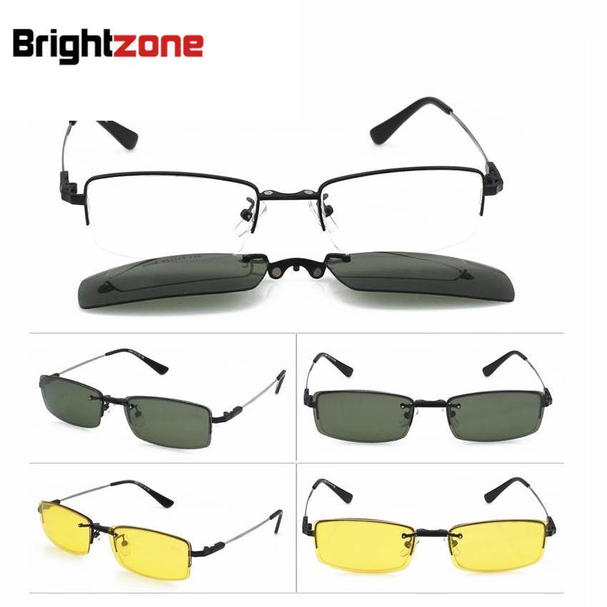 b300349cb7f738 3 en 1 Hommes Demi-jante lunettes cadre pour hommes lunettes prescription  spectacle cadre avec Jour et Nuit lunettes de Soleil Anti-éblouissement  Clip-sur