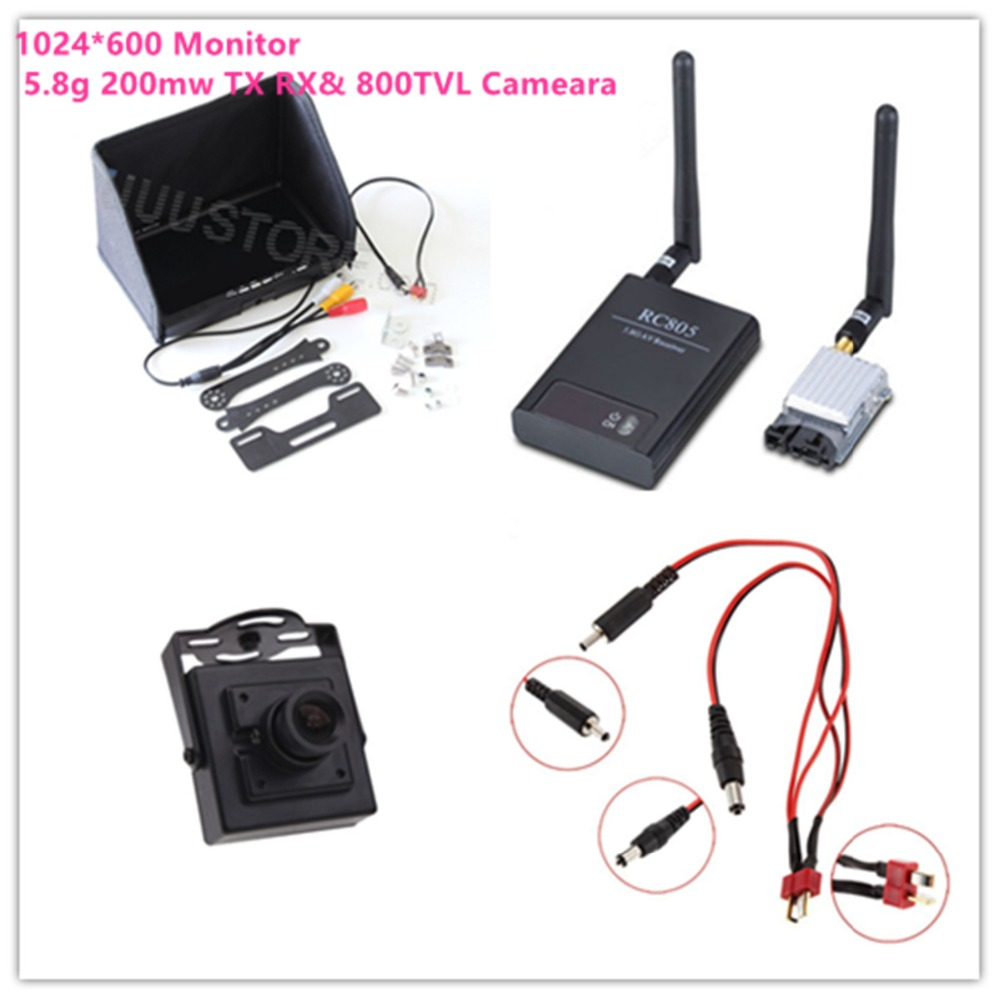 FPV combo system 5.8G 200mw Tx TS351 and Rx RC805 1024*600 TFT Screen FPV monitor + 700TVL HD Camera FPV System Combo 5 8g fpv 200mw image transmission av audio video wireless transmitter tx 5 8ghz rx receiver ts351 rc805 kit for fpv transmission