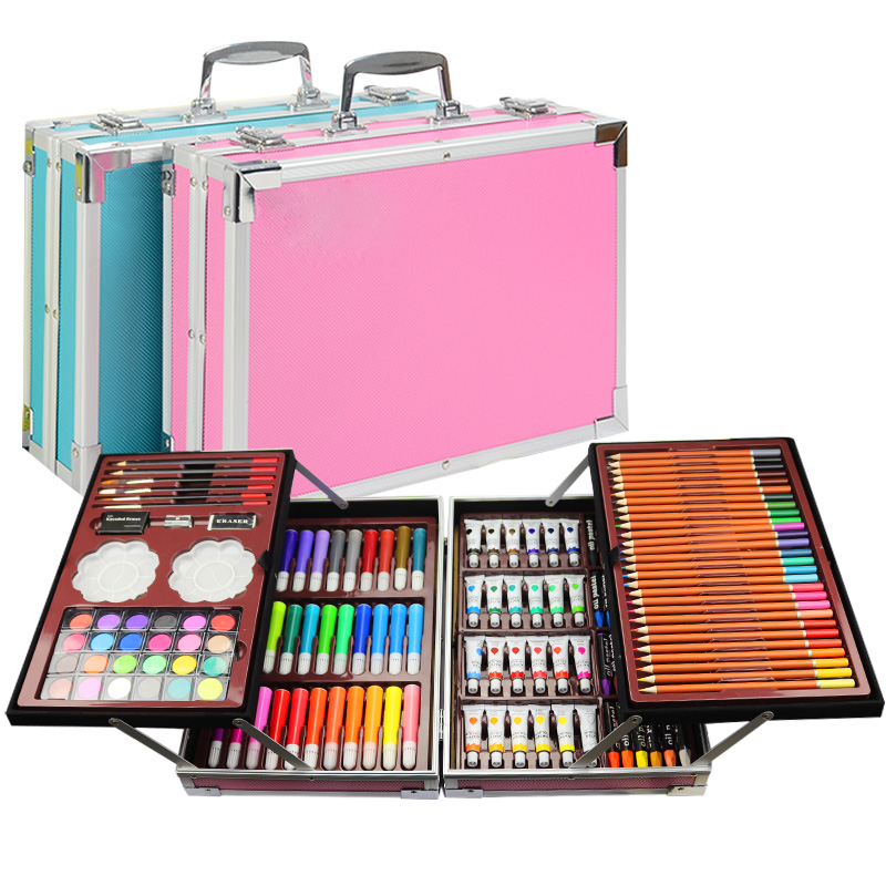 Portable Double aluminum box painting set watercolor With Water Brush Pen Color lead Watercolor Pigment For