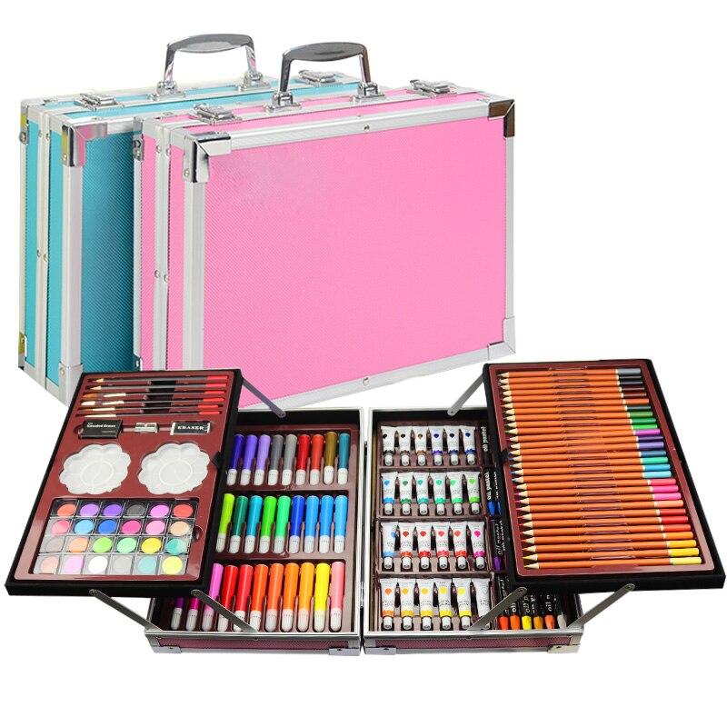 Ensemble de peinture Portable Double boîte en aluminium aquarelle avec pinceau à eau couleur plomb Pigment aquarelle pour dessin fournitures d'art