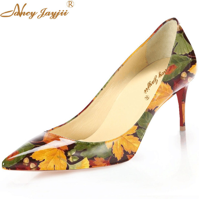 0d49701422143 Beige Bottom With China Red medium Heels Sole Women Floral Print 73 MM Red Woman  Leather Pumps Elegant Nude Shoes Nancyjayjii