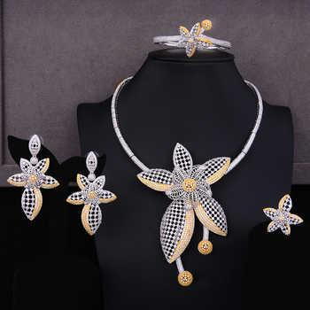 GODKI Luxury Star Flower Leaf Nigerian Trendy Jewelry sets For Women Wedding Cubic Zircon CZ Dubai Gold Bridal Jewelry Set 2019 - DISCOUNT ITEM  32% OFF All Category