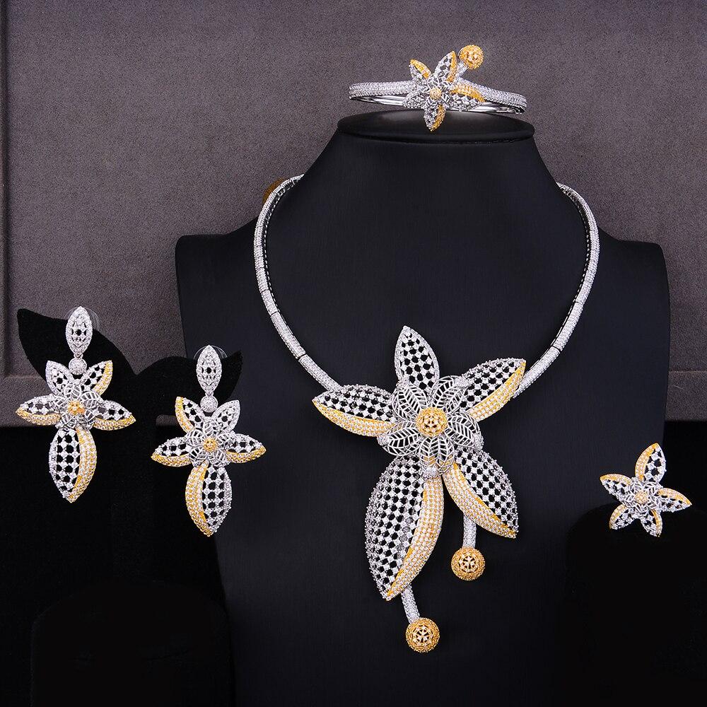 GODKI Luxury Star ดอกไม้ไนจีเรียชุดเครื่องประดับอินเทรนด์สำหรับผู้หญิงงานแต่งงาน Cubic Zircon CZ ดูไบ Gold เครื่องประดับเจ้าสาวชุด 2019-ใน ชุดอัญมณี จาก อัญมณีและเครื่องประดับ บน   1