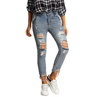 KL876 2017 ragged tear hem stylish hole ripped jeans for women ankle length pants skinny straight trousers