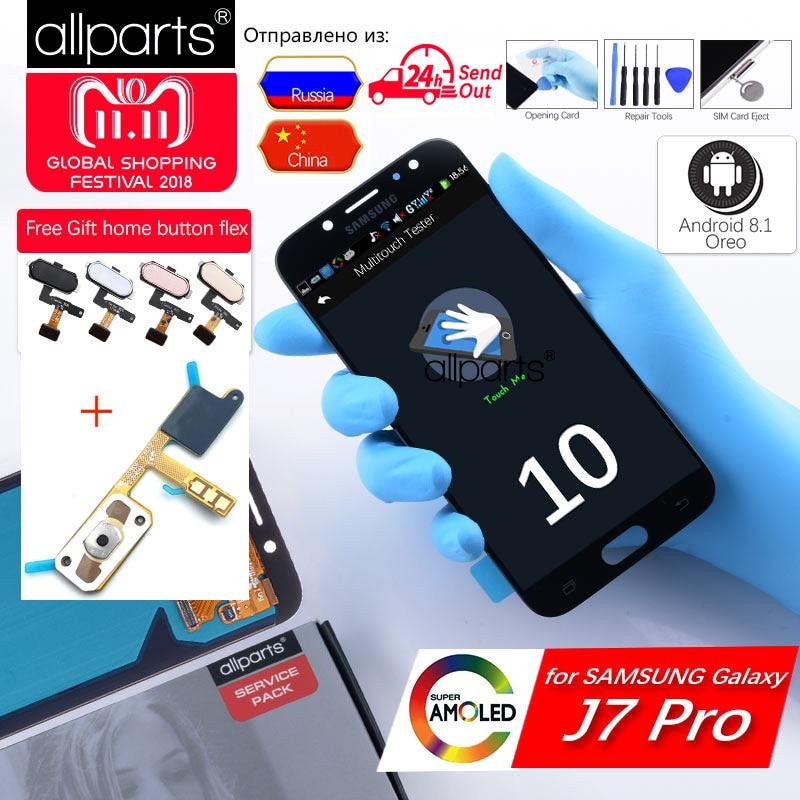 5,5'' NUEVO Original pantalla para galaxia SAMSUNG Galaxy J7 Pro 2017 LCD Tactil Completa Display táctil Écran para SAMSUNG Galaxy J7 Pro 2017 J730 pantalla LCD con marco Digitalizador reemplazo Negro Dorado