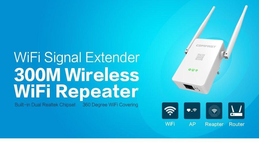 Portable Mini WIFI Repeater 300M 2.4G Wireless Range Extender WiFi Repeater Router 2 5dBi Antennas White CF-WR302S v2.0