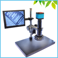 HD LCD Monitor Industrial Digital Microscope 14MP Digital CMOS Camera + 180X Lens + LED Ring Light + Mount with Big Stage