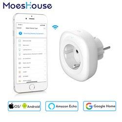 2018 novo mini wifi tomada inteligente plugue de energia da ue app móvel controle remoto monitor de energia funciona com amazon alexa casa do google