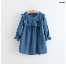 Y61258037 2017 Spring Baby Dress Girls Dress Jeans Solid Fashion Appliques Cherry Princess Dress Girls Clothes Baby Girl Dress