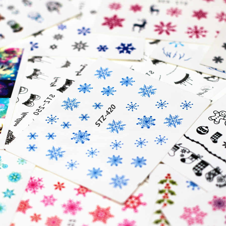 1pcs Smiling Face Snowflake Cartoon Nail Art Sticker Set Black Lace Glitter Flower Water Decal Slider Wraps Decor Manicure Ns213