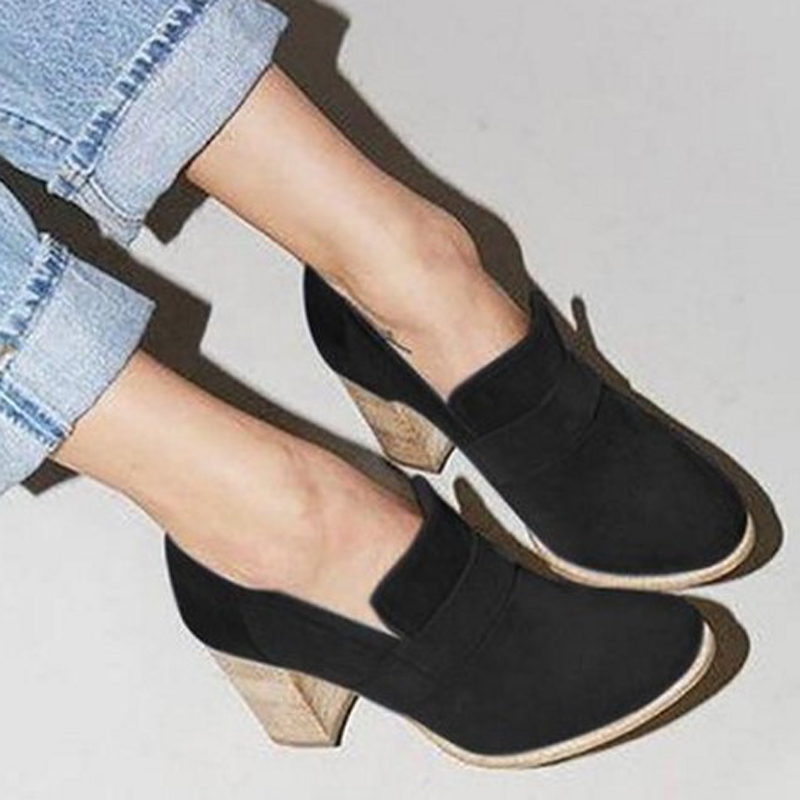 LAKESHI Vintage Shallow Shoes Woman High Heel Ankle Pumps 2019 New Shoes Sexy Square Faux Suede Platform Shoes Women For Spring