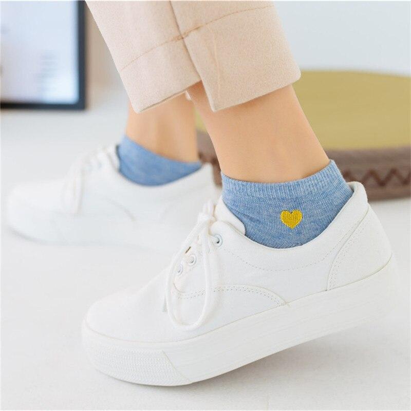 2019 New Fashion Woman Cotton Harajuku   Socks   Summer Spring Warm Female   Socks   Embroidery Heart Love Pink Girl   Sock