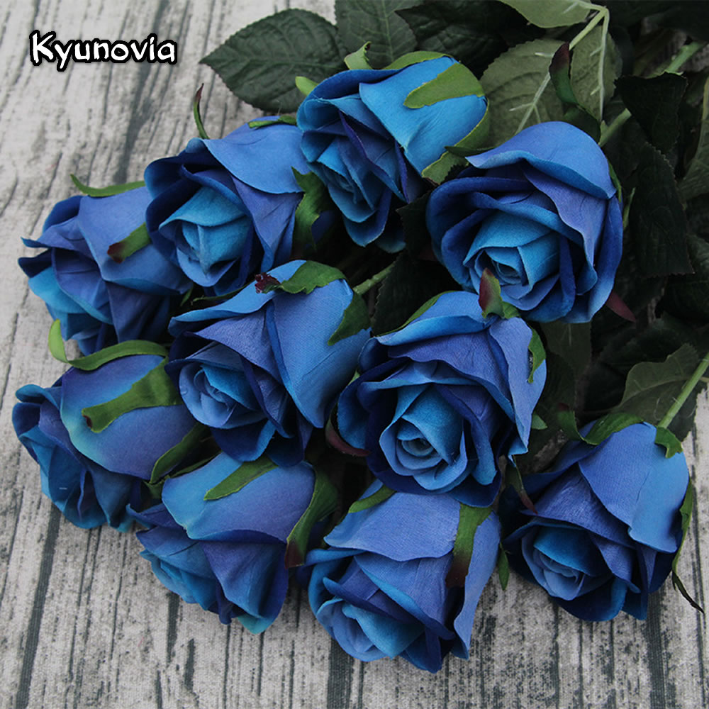 Kyunovia 5PCS/lot 72CM Single Rose Stem high quality Artificial Silk Flowers Leaves Blue Rose Wedding Party Home Decorative KY42
