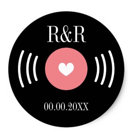 15inch Rock And Roll Vinyl Record Wedding Favor Sticker In