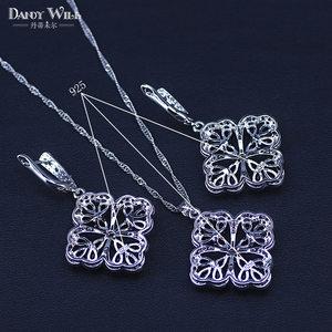 Image 5 - New Fashion Women Love Gift Dark Blue Cubic Zirconia Pendant/Necklace/Earrings/Rings/Bracelets silver color Jewelry Set