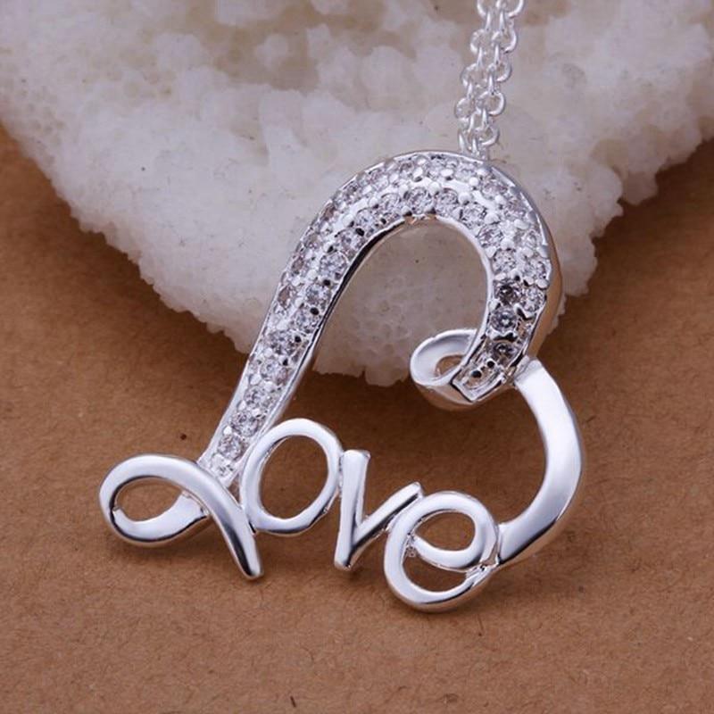 Free Shipping silver plated Necklace, sterling-silver-jewelry love /TSCKPSKJ TSCKPSKJ
