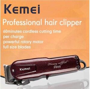 Image 2 - Kemei máquina profesional de corte de pelo eléctrica con cuchilla de titanio, corte de pelo, barbero, peine de límite para niños y adultos, 110 240V