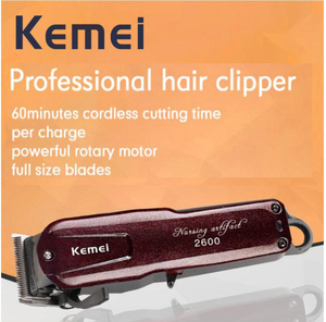Image 2 - Professional Kemei Titanium Blade Corded Electric Haircut Cutting Machine Barber + limit comb for kids adult men 110 240V