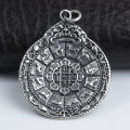 Handmade 925 Silver Tibetan Nine Direction Eight Symbols Amulet Tibetan Direction-Symbols Pendant Sterling Buddhist OM Pendant
