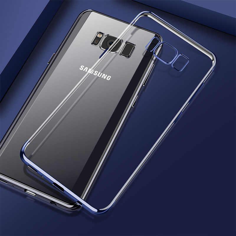 Capa Ultra Fina para Samsung Galaxy A3 A5 A7 A8 J3 J5 J7 2016 2017 2018 Silm S8 Note8 S9 Plus S7 S6 Borda Chapeamento de Silicone Casos