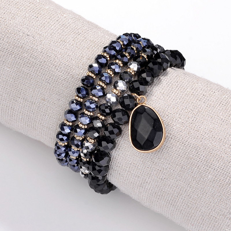 4 Strand Stretch Bracelet Faceted Glass Crystal Waterdrop Multi Color Beaded Bangle For Women Men