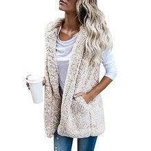 Sexy Otoño Invierno chalecos más tamaño mujeres abierto Stich chalecos de  lana bolsillos hembra con capucha 73b1725b4ead