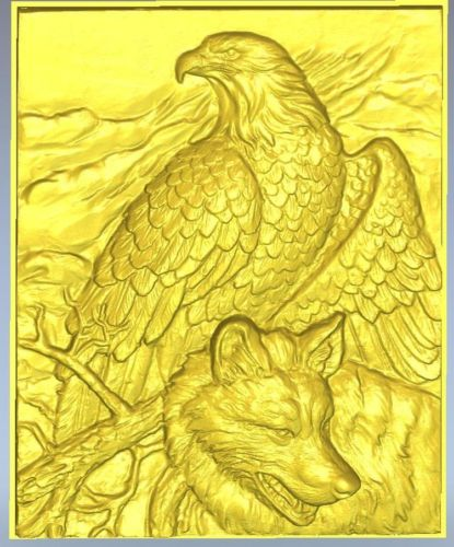 Eagle And Wolf 3D File In STL Format Relief For Cnc Router Carving 65.2MB
